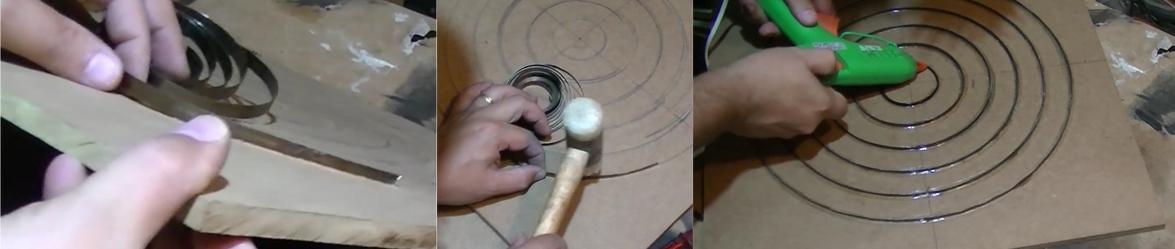 muelle aspiradora encastrado en diana como separador de la plastilina