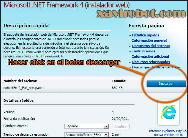 Instalación de framework 4