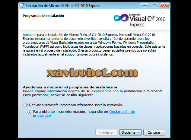 Paso 3 Instalación de visual studio c# sharp