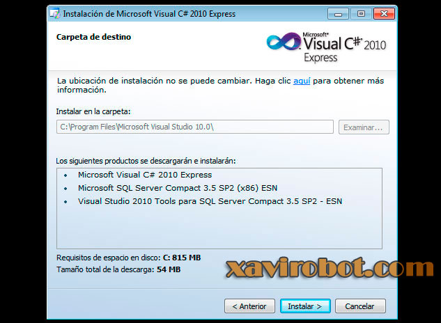 Paso 5 Instalación de visual studio c# sharp