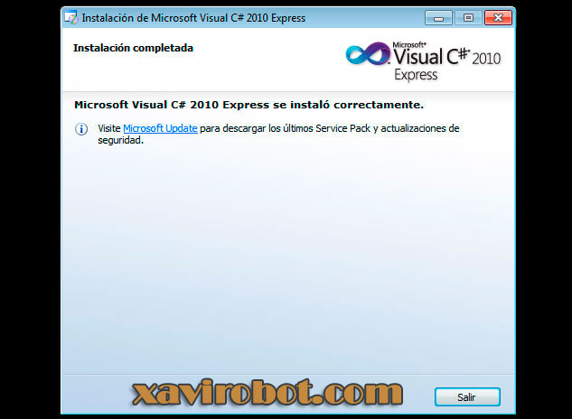 Paso 7 Instalación de visual studio c# sharp