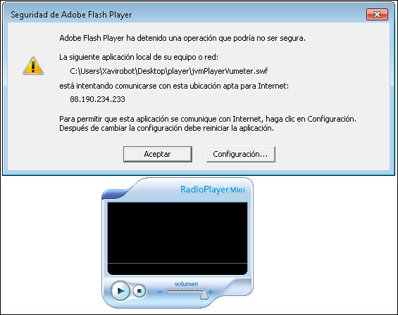 Aviso de seguridad de adobe flash player
