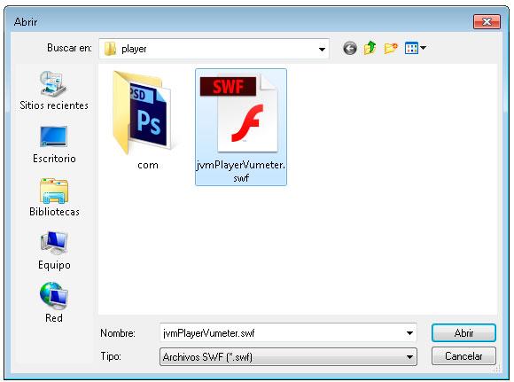 seleccionar archivo swf de confianza