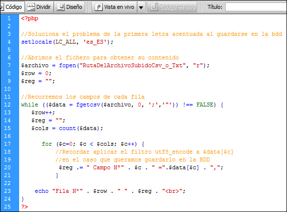 Ejemplo para importar archivos cs o txt separados por coma con php