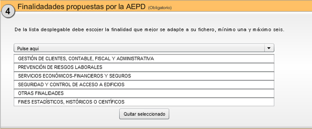 Finalidades propuestas por la AEPD